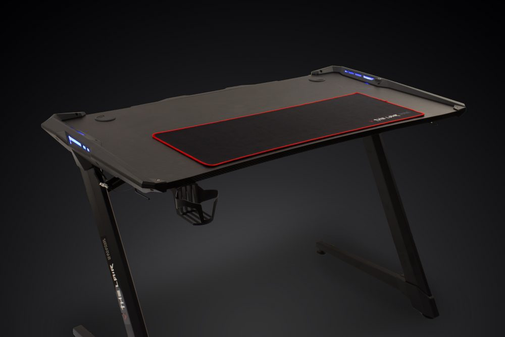 Villain Gaming THE LAIR Gaming Desk Side View Blue LED Lights
